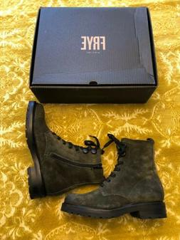 Frye Julie Hook Combat Forest Lace Up Suede Ankle Boots, US