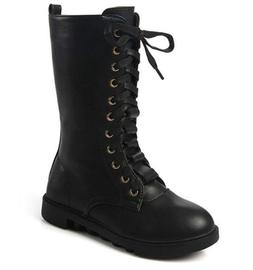 DADAWEN Kid's Girls Leather Lace-Up Zipper Mid Calf Combat R