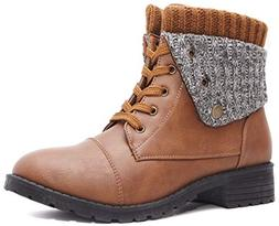 Charles Albert Knit Cuff Combat Boot Fold-Over Low Heel Mid-