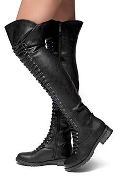 Herstyle Kristrrina Women Military Lace Up Thigh High Combat