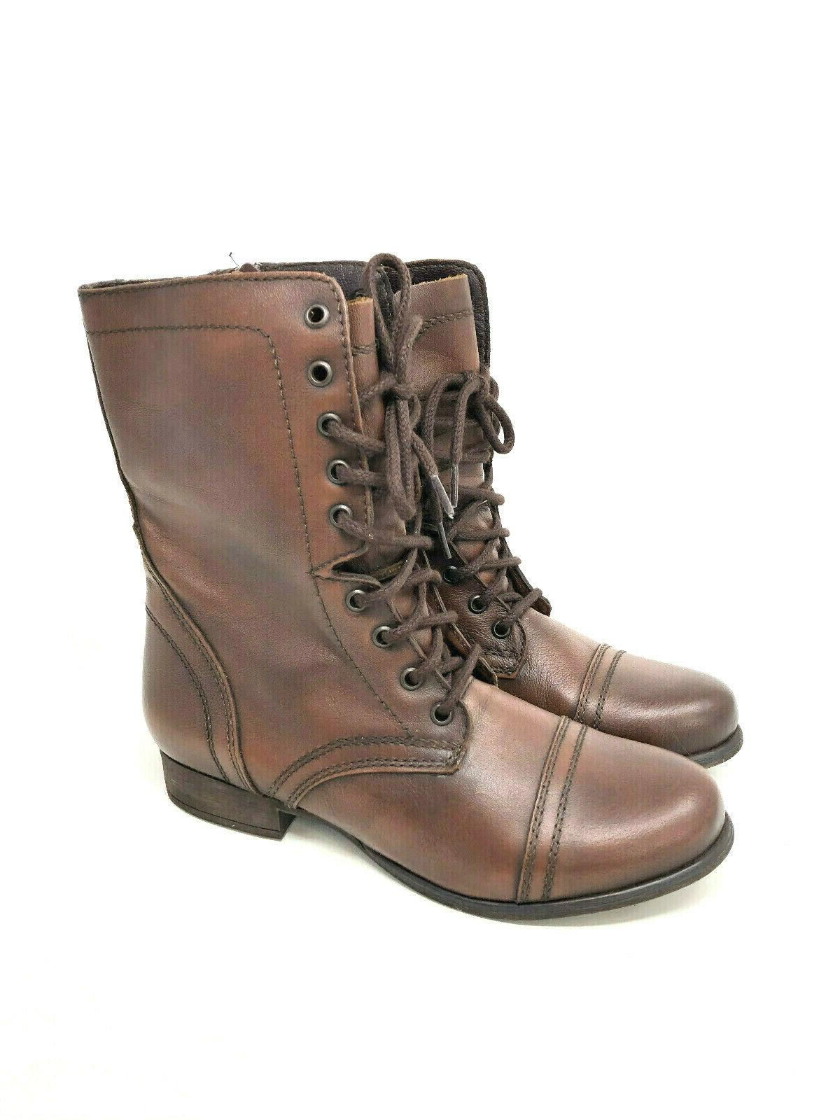 9 troopa leather boots womens brown cap