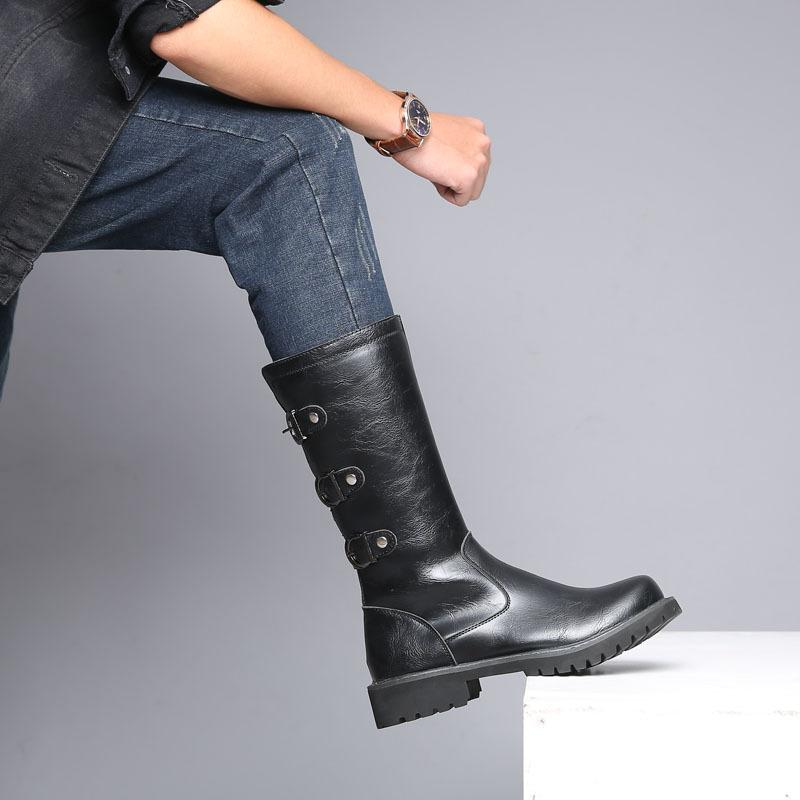 OUDINIAO <font><b>Boots</b></font> High Military <font><b>Combat</b></font> Metal <font><b>Boots</b></font> Rock