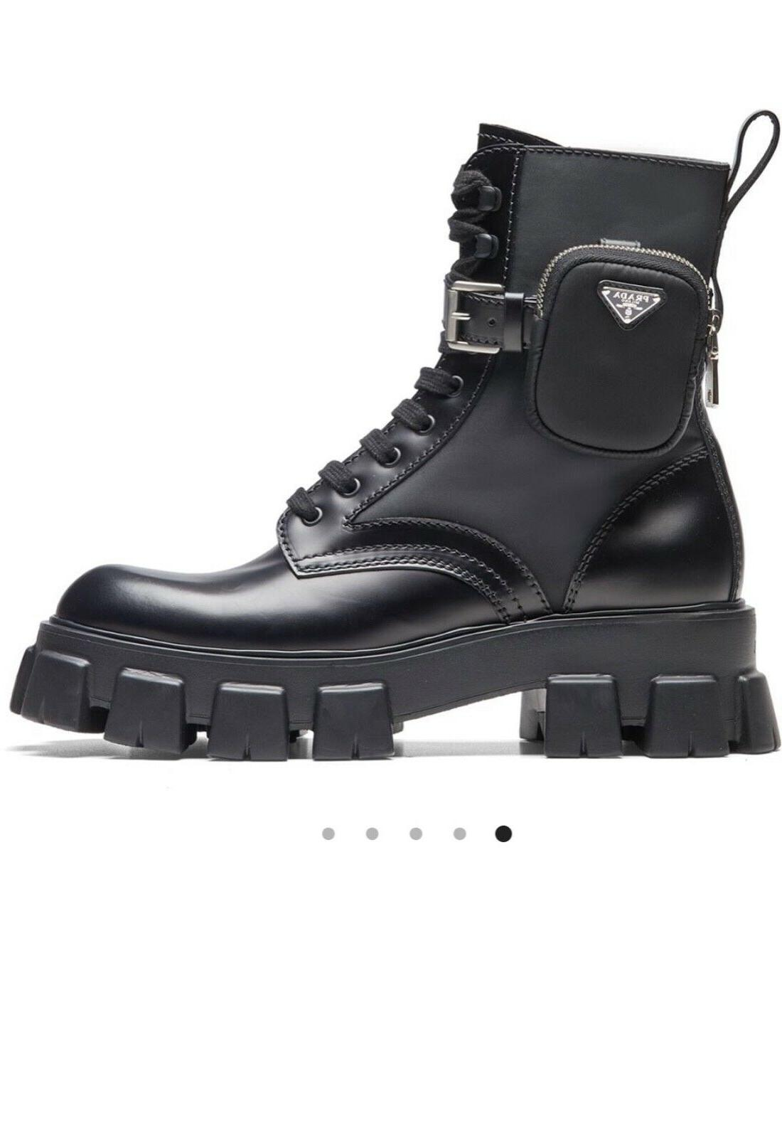 black combat boots with pouch size 38