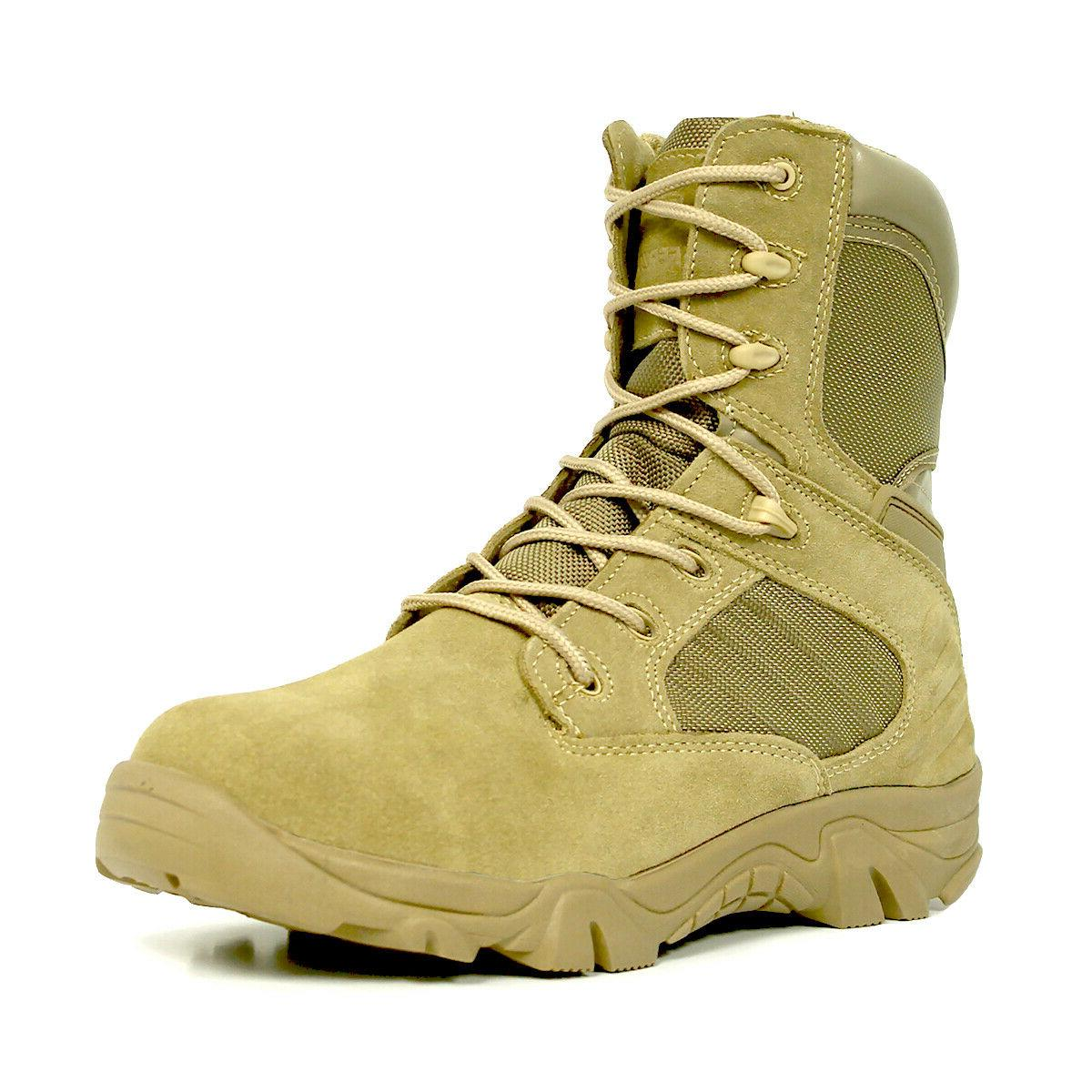 """Bufferzone® Men's 8"""" Tan Military Boots With"""