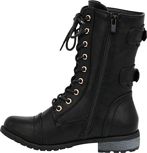 Cambridge Select Women's Closed Round Toe Lace-up Zipper Buckle Combat Low Heel B Pu