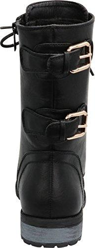 Cambridge Select Women's Buckle Combat Moto Chunky Low B Pu
