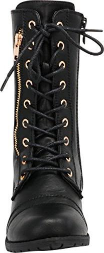 Round Toe Lace-up Buckle Combat Low Mid-Calf Boot,8 B US,Black