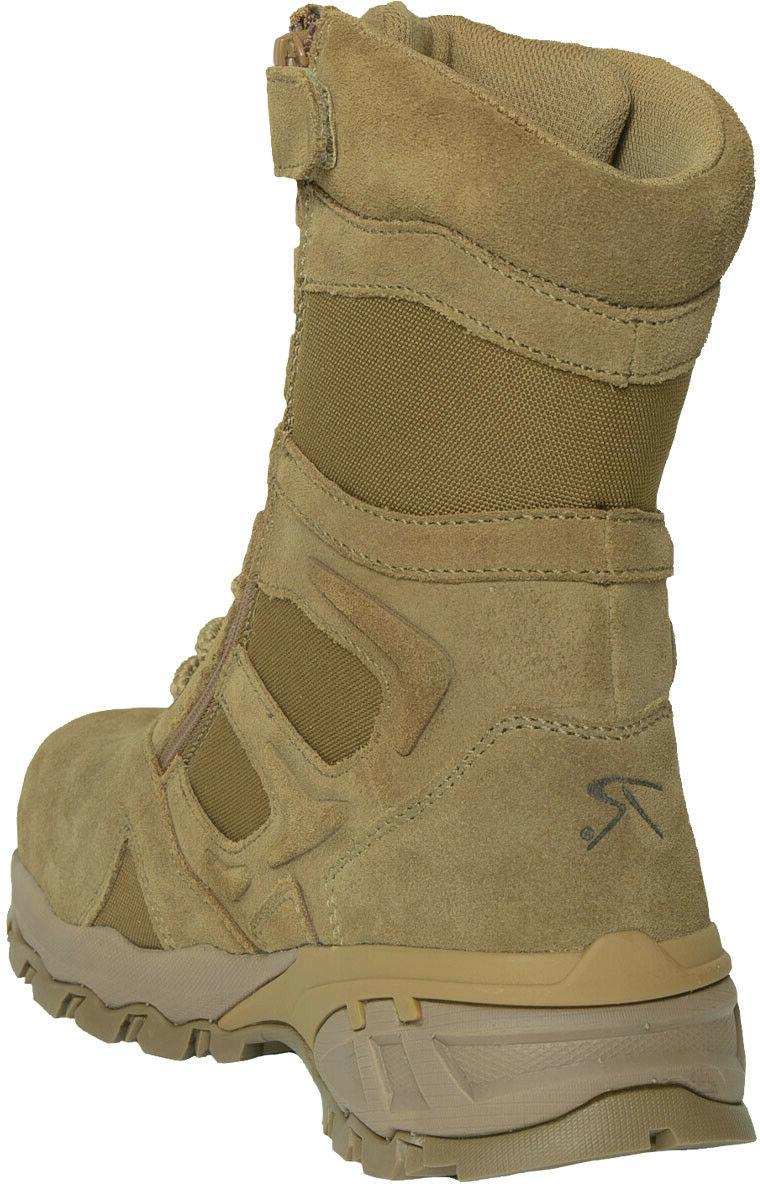 Coyote Brown Combat Tactical Zipper Boots Toe