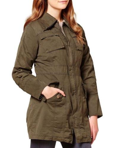 double collar army cotton jacket olive green