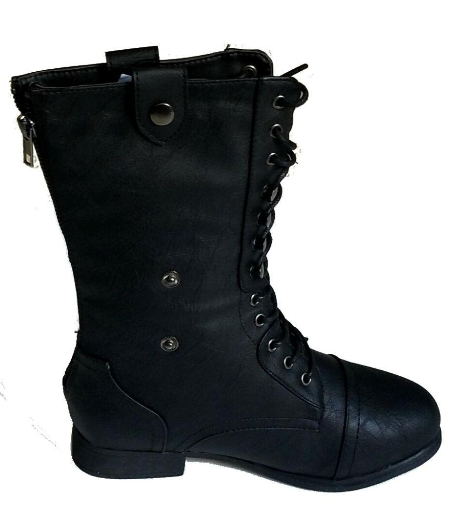 Mid Calf Combat Military Lace Boots Shoes