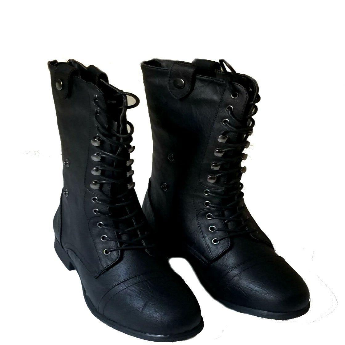 Top Modal Women's Mid Calf Combat Lace Boots