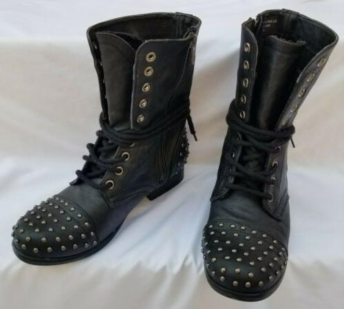 Madden Gir Studded Combat Boots Mid Laceup &