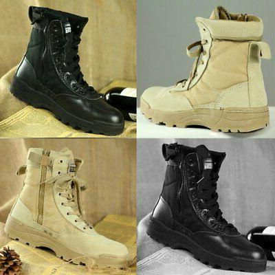 Men Military Army Leather PU Tactical Boots Desert Work Comb