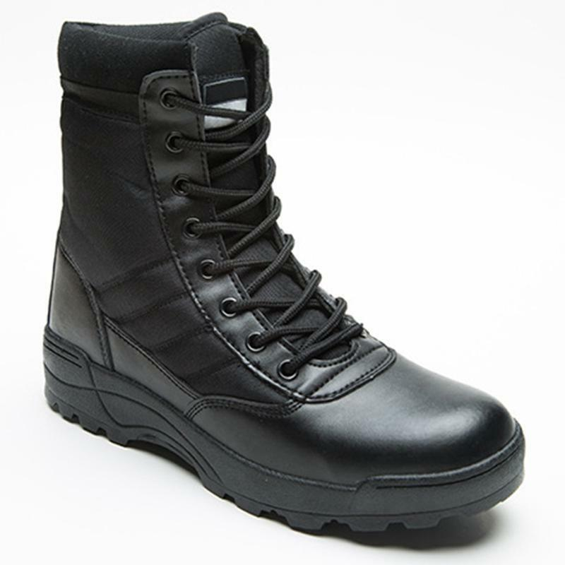 Mens Leather Combat Ankle Boots Work