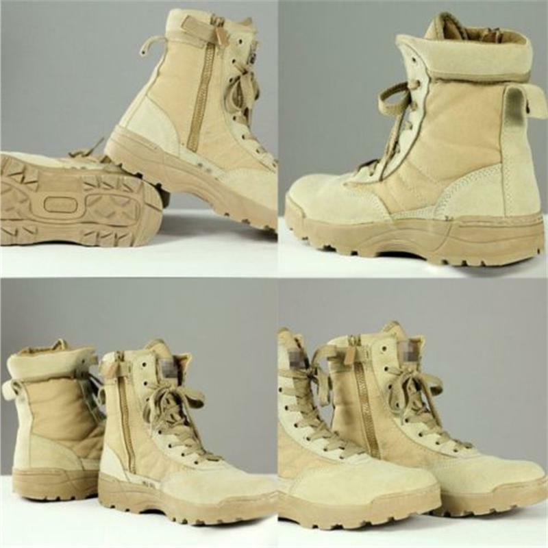 Mens Army Tactical Leather Combat Boots Desert