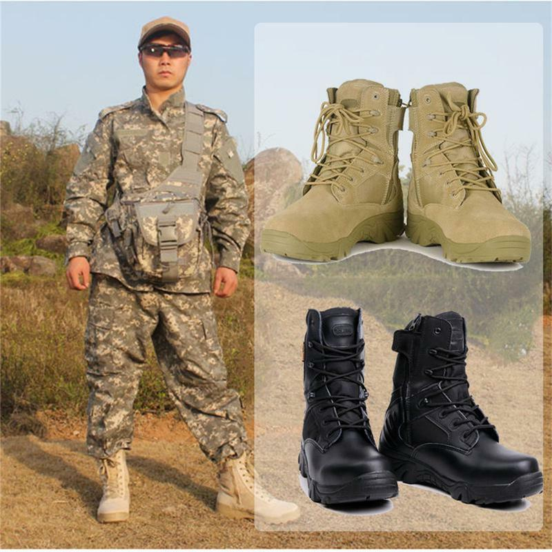 Mens Tactical Leather Military Boots