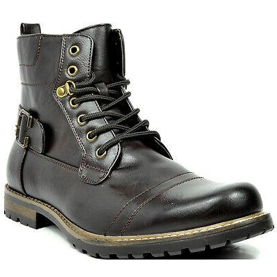 BRUNO MARC Men Motorcycle Combat Leather Boots
