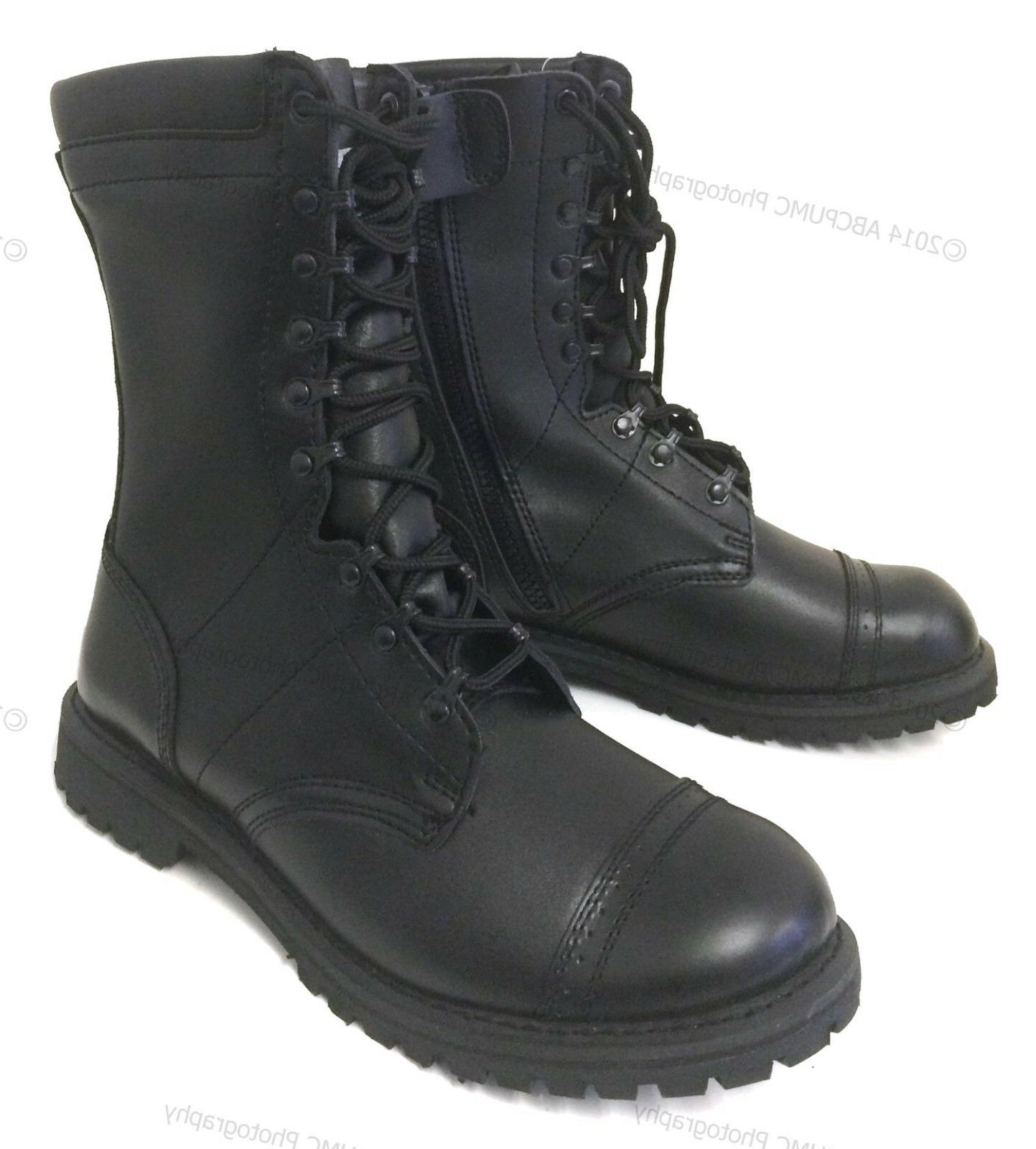 men s leather tactical boots black military