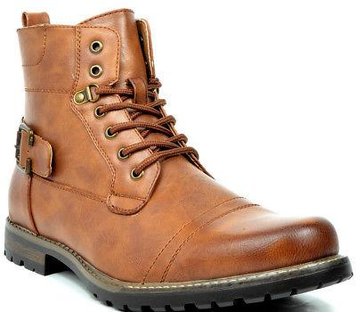 BRUNO MARC Men Motorcycle Combat Leather Boots Size