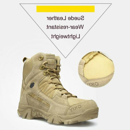 Men's Military Tactical Boots Side-Zip Combat Hiking Duty Boots