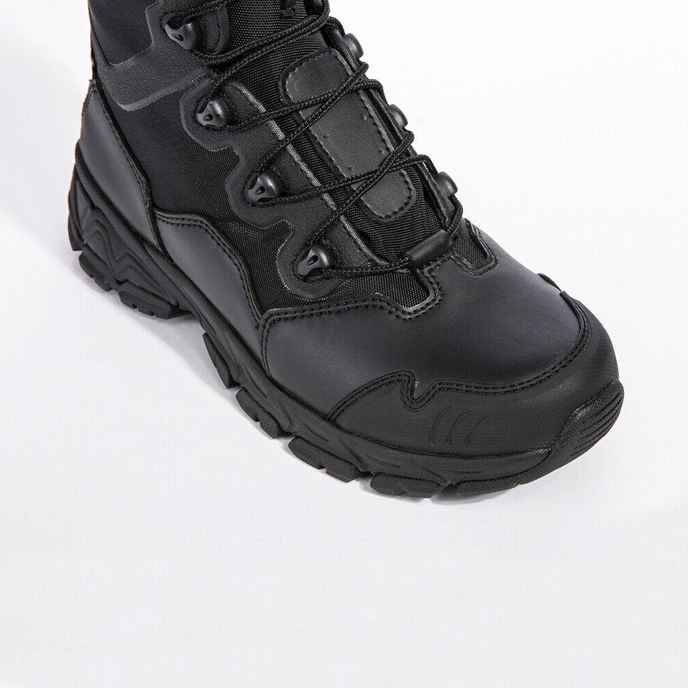 Mens Tactical Combat Army Boots Waterproof Zipper Ankle Hiking Boot