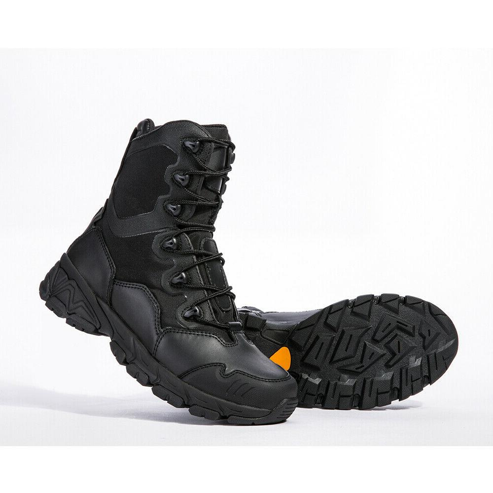 Mens Tactical Combat Army Boots 8'' Zipper Ankle Hiking