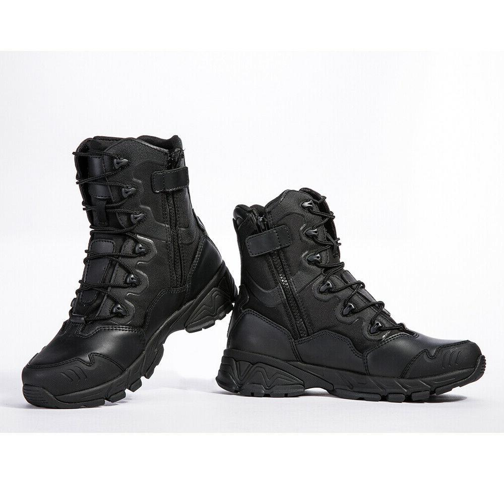 Mens Military Army Boots 8'' Waterproof Zipper Ankle