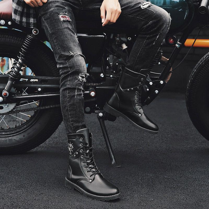 Men's Motorcycle High Tops Lace