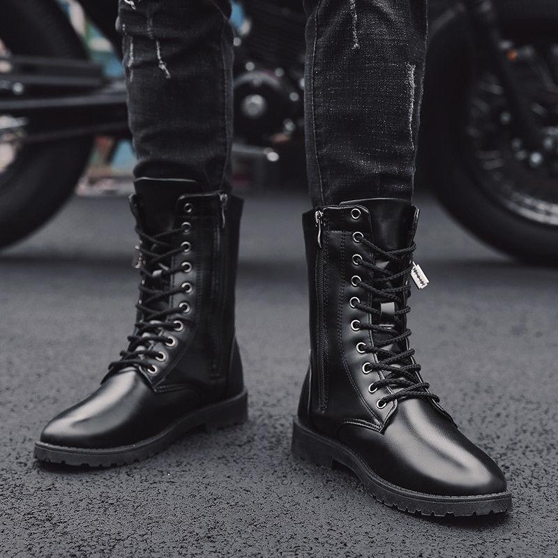 Men's Ankle Motorcycle Boots High Up PU