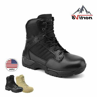mens military tactical work boots side zipper