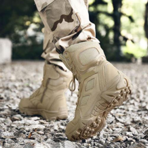 Mens Leather Combat Military Boots Shoes