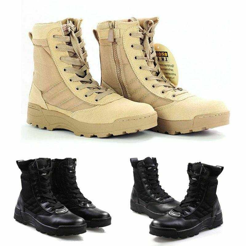 Mens Tactical Leather Military Boots Work Desert Shoes