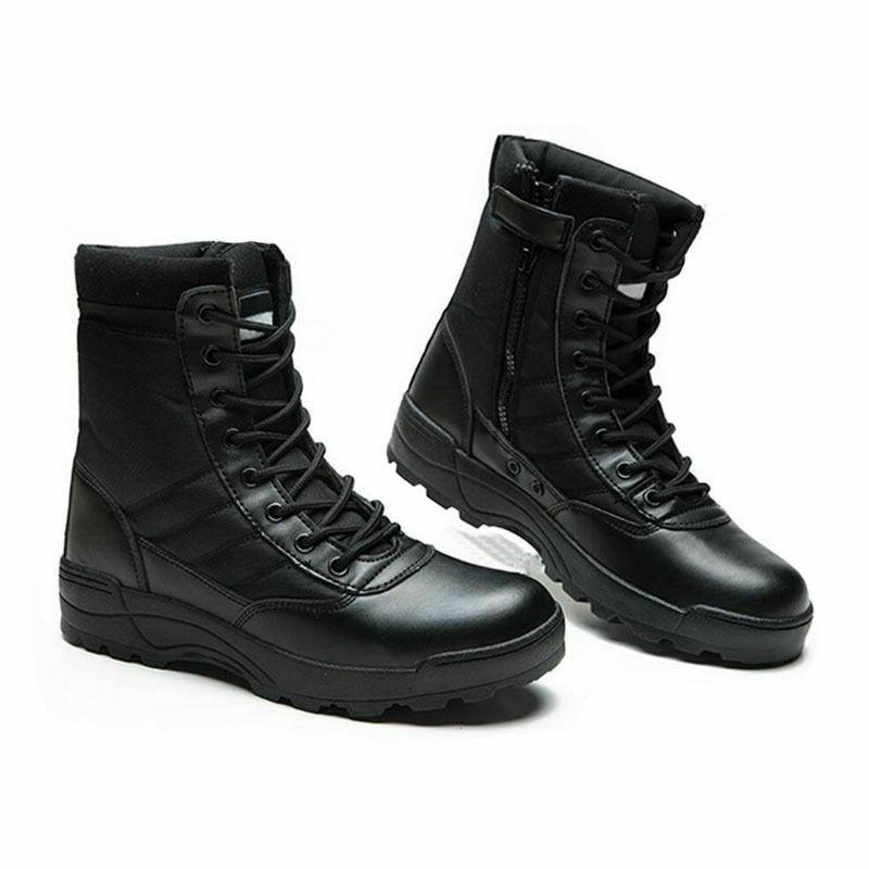 Mens Army Tactical Comfort Leather Boots Work