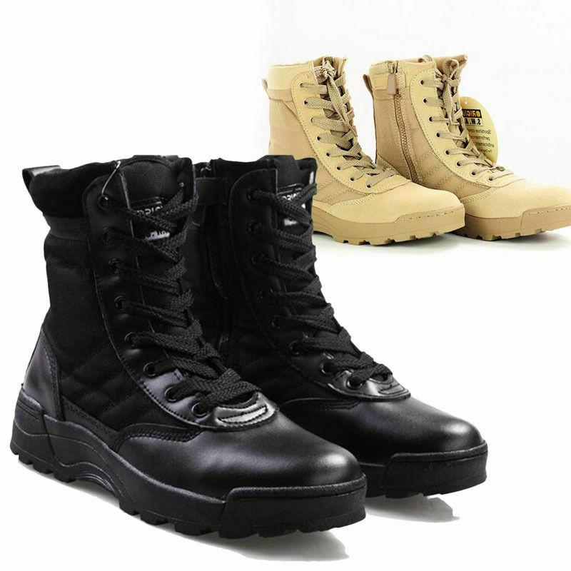 Mens Army Leather Military Ankle Boots Desert