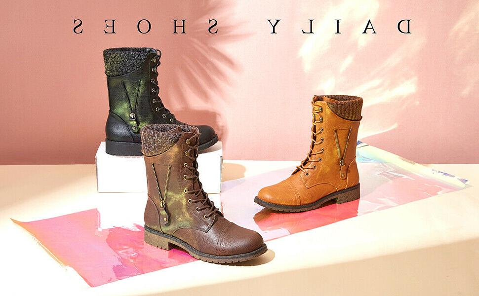 DailyShoes Military Boots Mid Calf Sweater Side Zipper Pocket