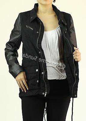 New Rocker Army Military Jacket Faux Leather Sleeve Coat