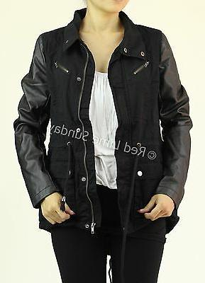 New Military Jacket Leather Sleeve Button