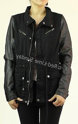 Military Jacket Faux Sleeve Button