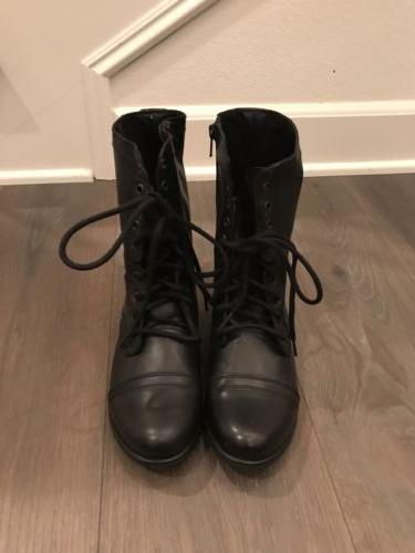 new troopa black leather lace up combat