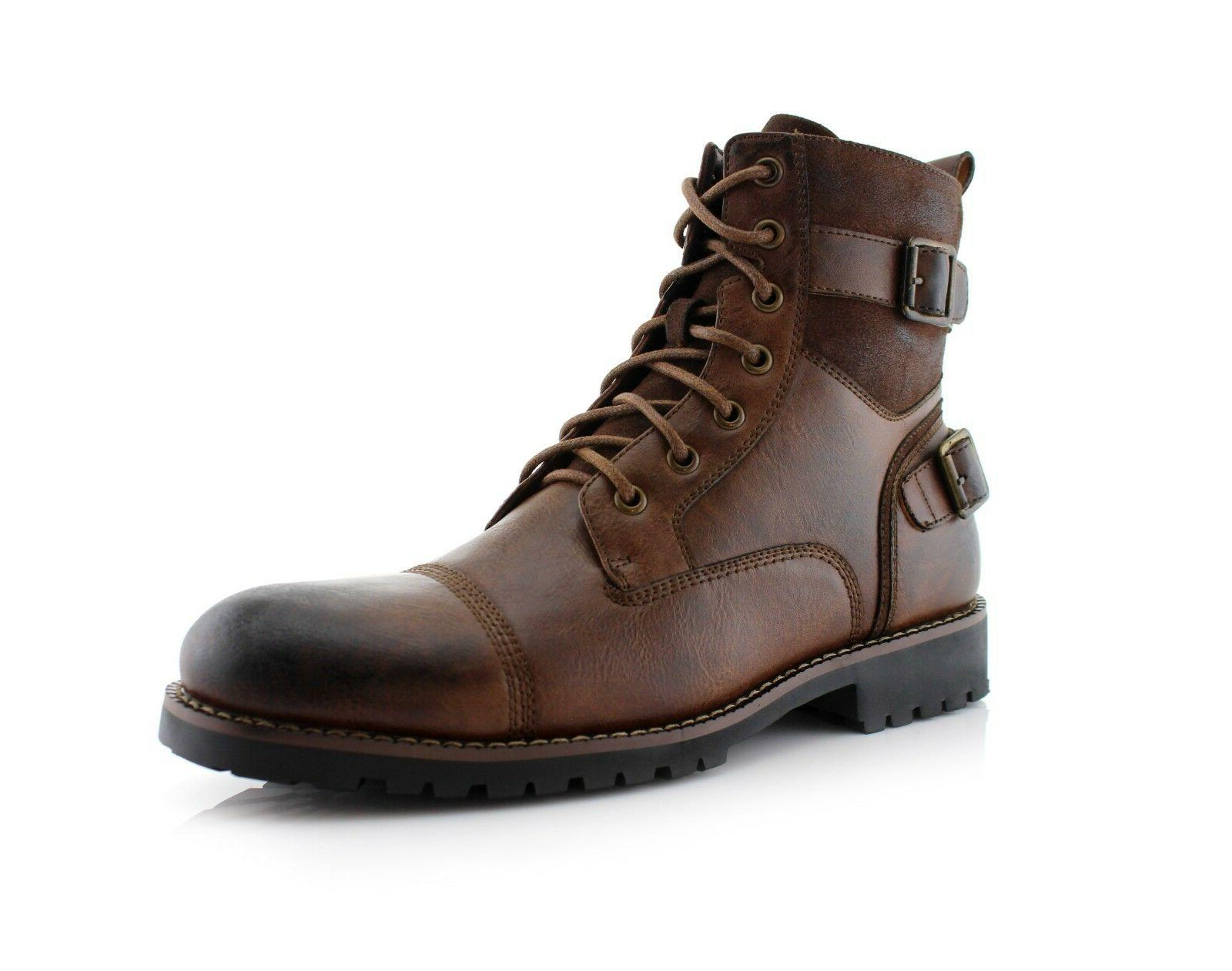 Men's Leather Motorcycle Casual Boots Riding Hiking Waterpro