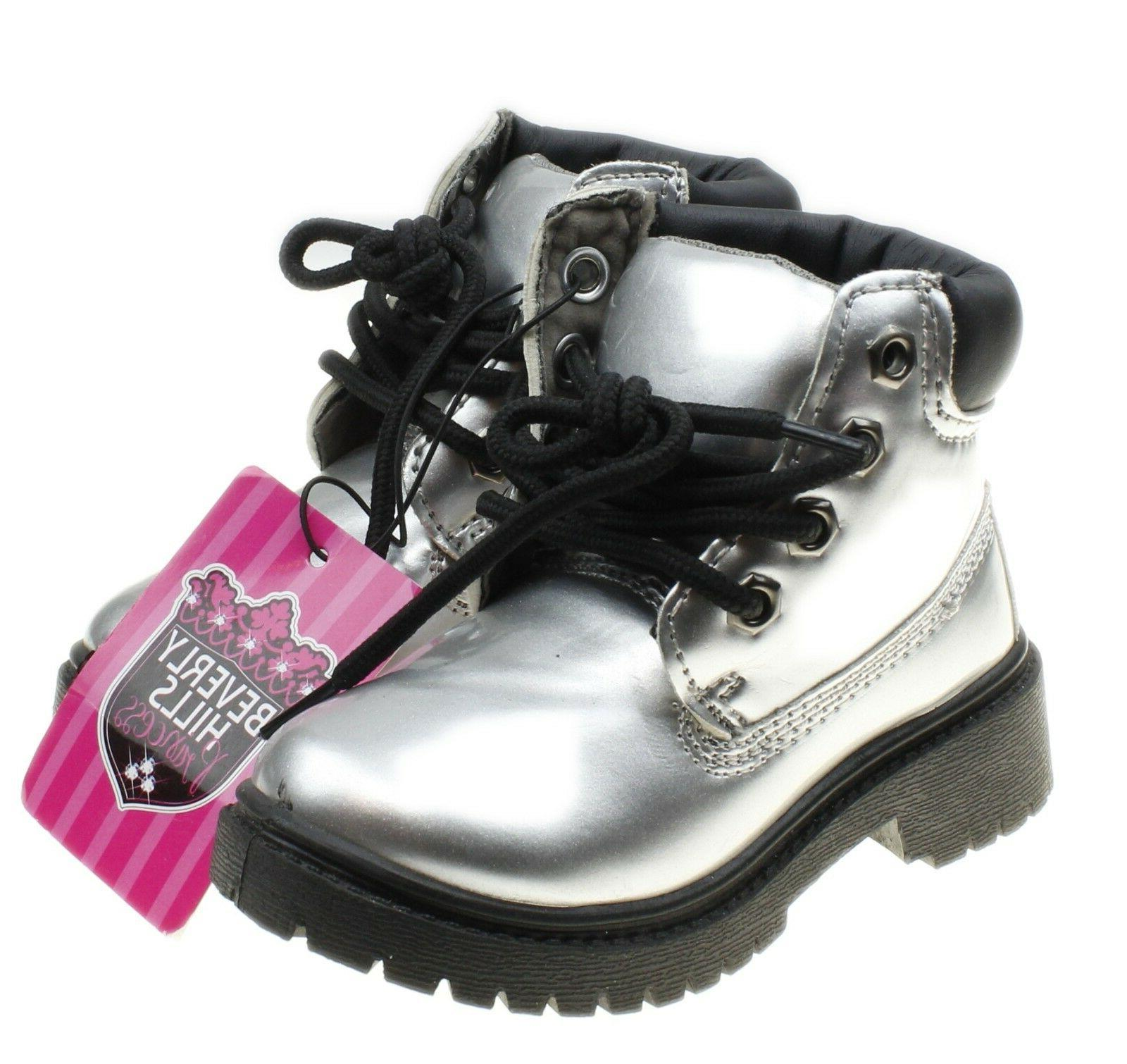 size 6 girls or boys silver combat