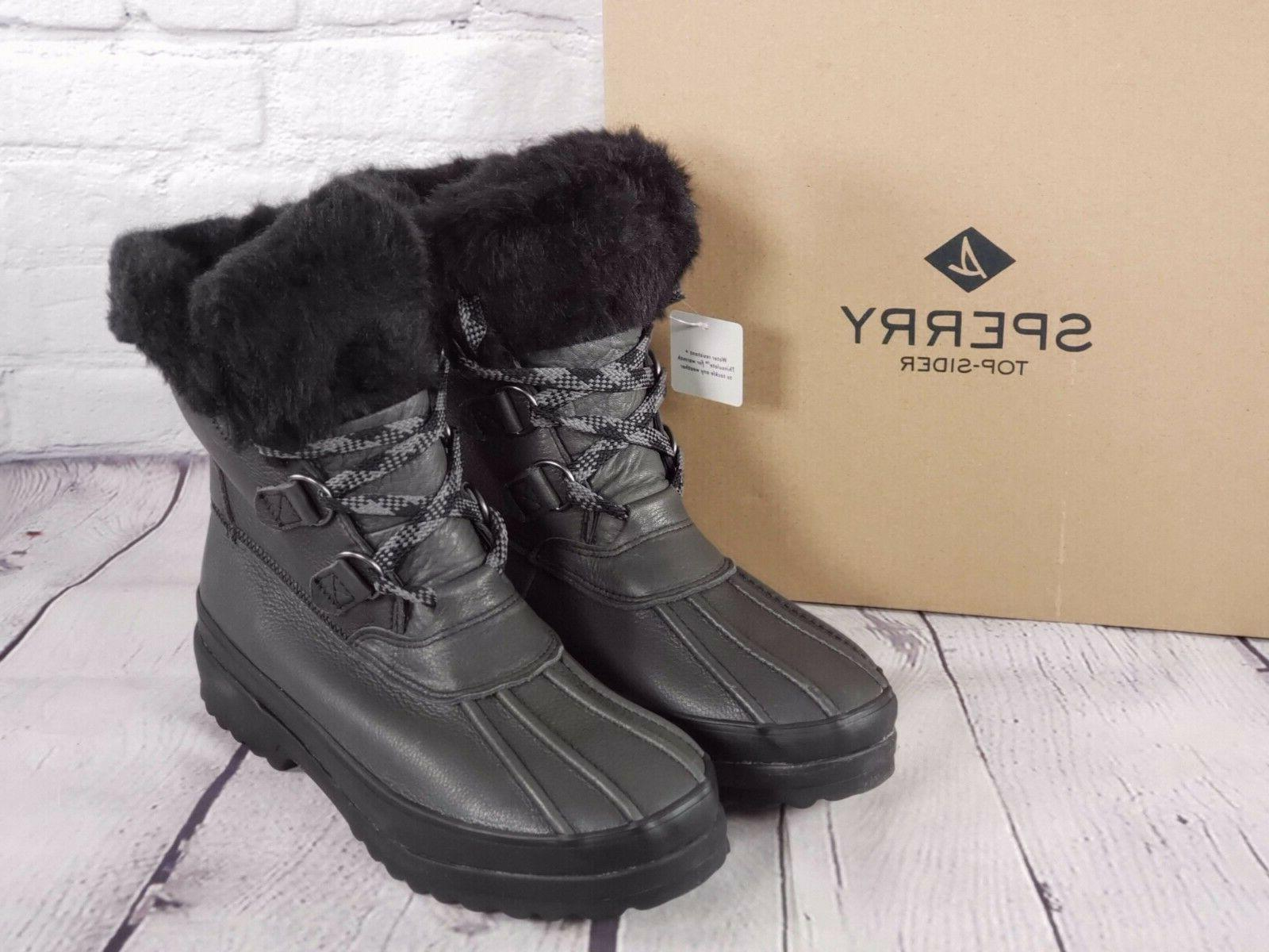 sperry maritime leather winter boots black size