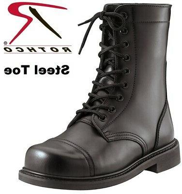 steel toe boots military style leather steel
