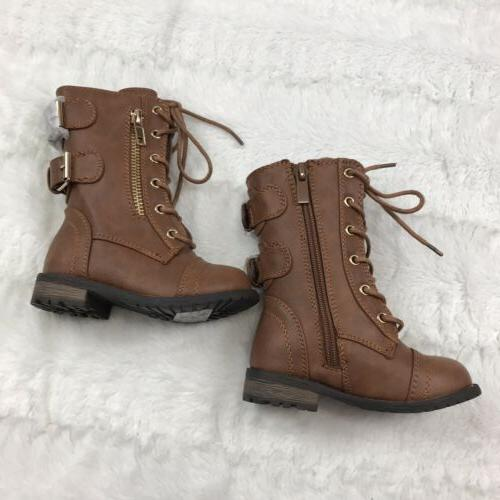 Link Girls Boots Size 5 Brown Lace Up Zip Buckles In