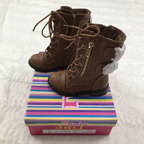 toddler girls combat boots size 5 brown
