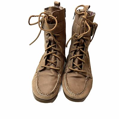 Sperry Top Starpoint Lace Leather Moccasin Flat Boots