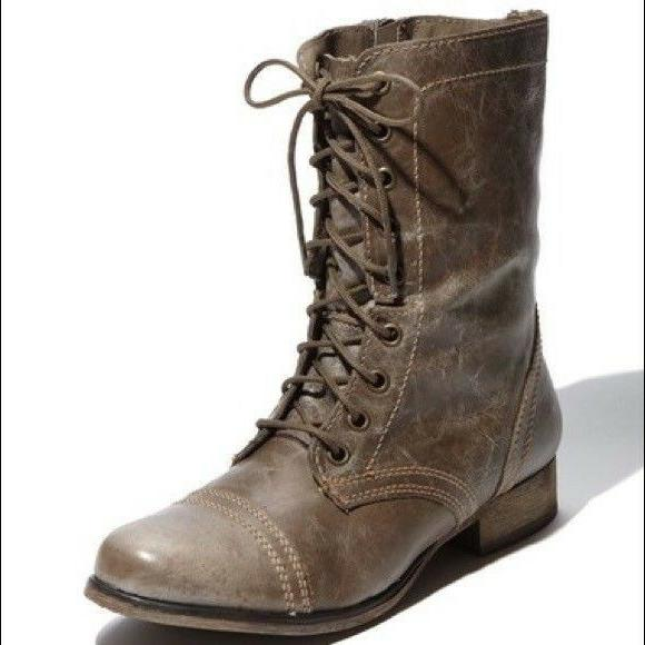 troopa combat boots stone leather womens size