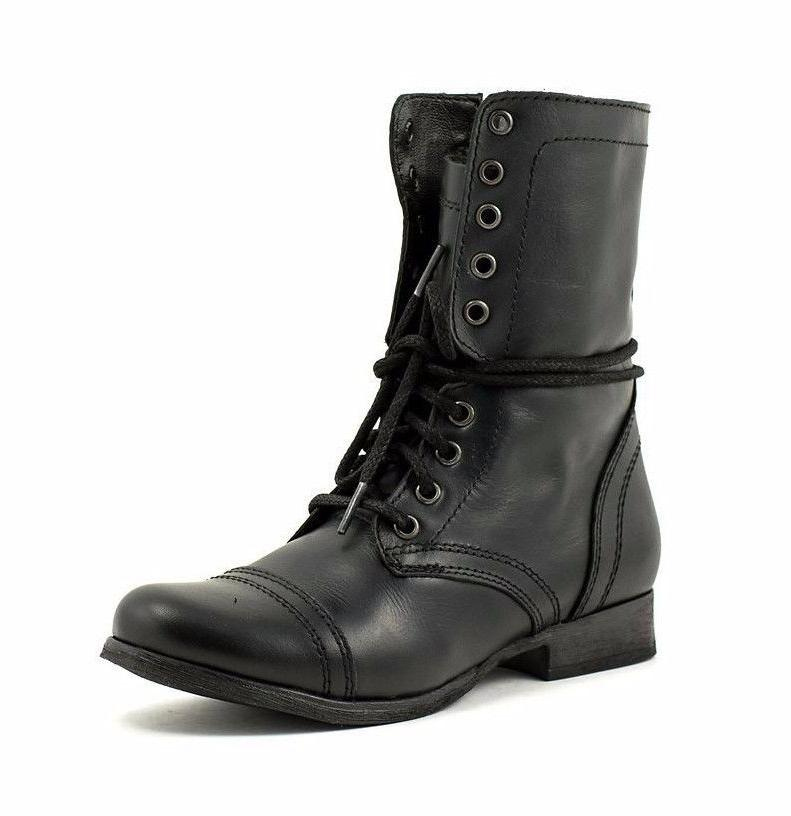 troopa womens black leather high lace up