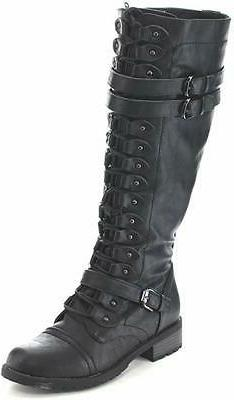 Wild Diva Timberly Women's Fashion Lace Up Buckle Knee High