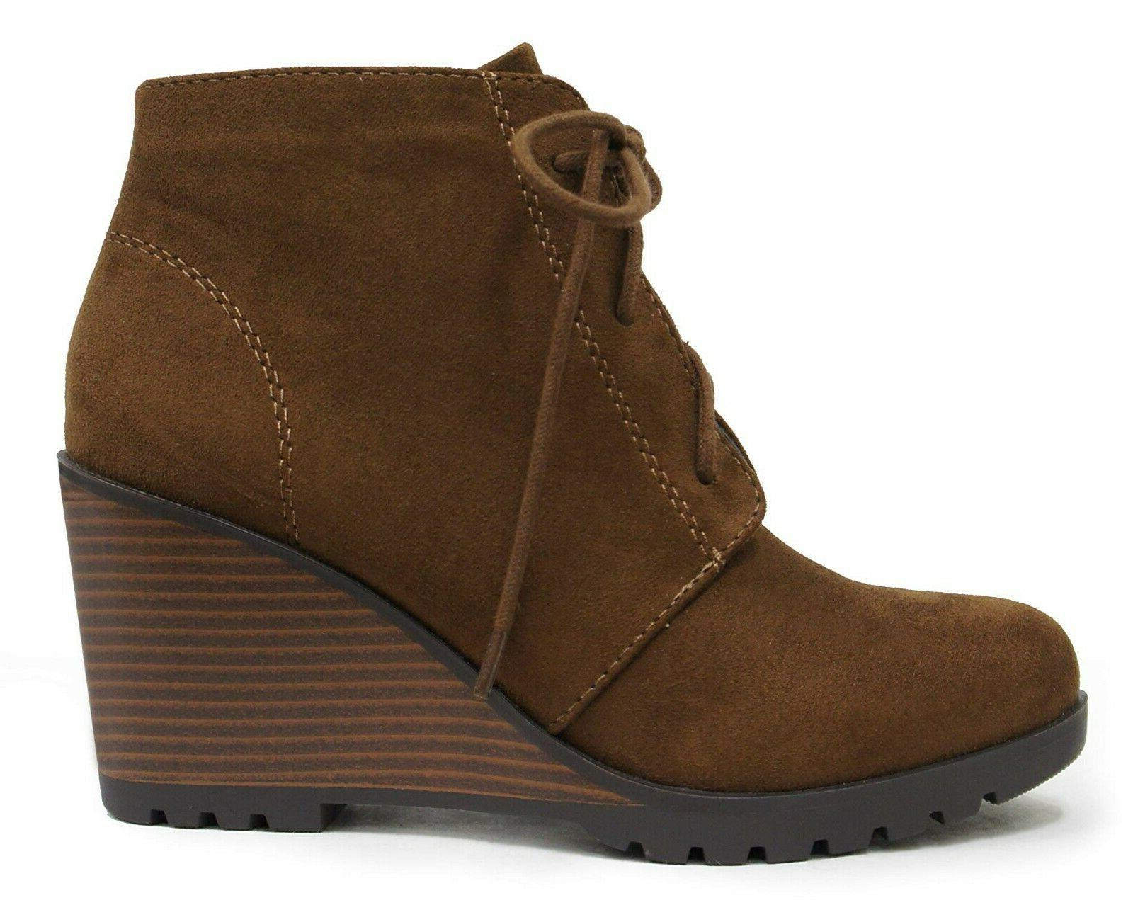 Soda Ankle Lace Combat Booties Wedge Heel Brown Faux Suede
